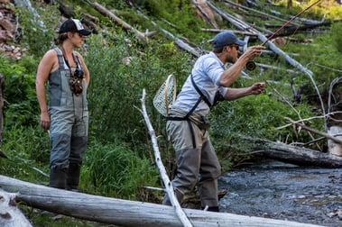 Erica and Morgan flyfishing